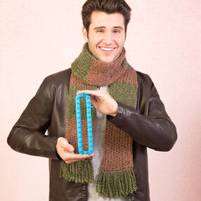 Loom Knit Color Block Scarf with Fringe