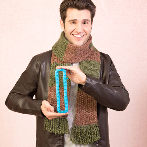 Knitting Loom Scarf Fringe : Loom Knit Color Block Scarf with Fringe Boye and Simplicity