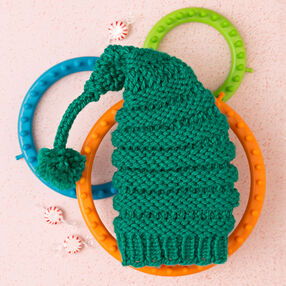 Loom Knit Baby's Elf Hat with Pompom