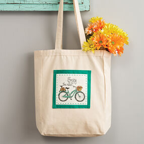 Cross Stitch Bicycle Tote