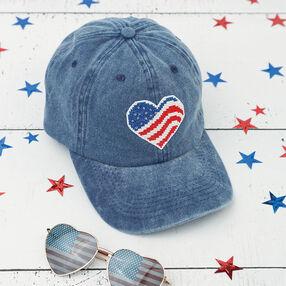 Cross Stitch Patriotic Cap