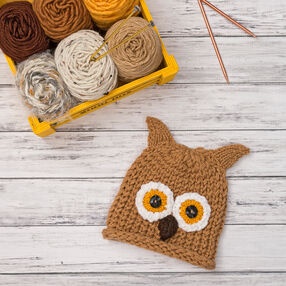 Loom Knit Baby Owlet Hat
