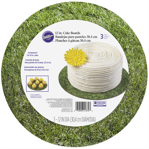 12 Inch Circle Grass Cake Board Set