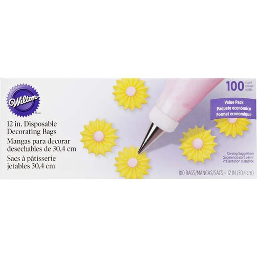 12 inch Disposable Decorating Bags - 100 Count