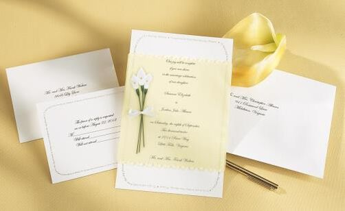 Calla Lily Bouquet Wedding Invitation Kit