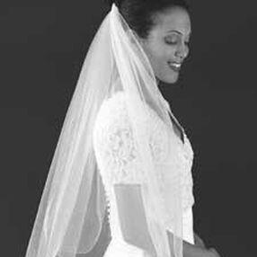White Rolled Edge Bridal Veil