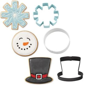 Wilton Christmas Snowman Metal Cookie Cutter Set, 3 pc.