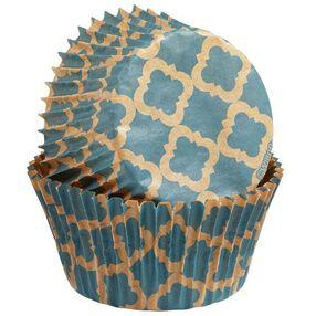 Wilton Unbleached Turquoise Quatrefoil Design Baking Cups, 75 Ct. 415-2131