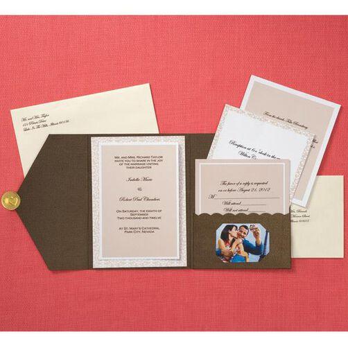 Bronze Photo Pocket Invitation