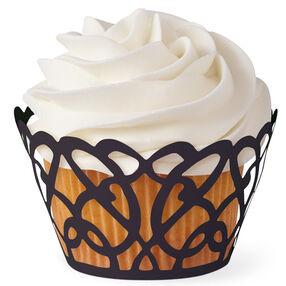 Black Swirls Cupcake Wrap