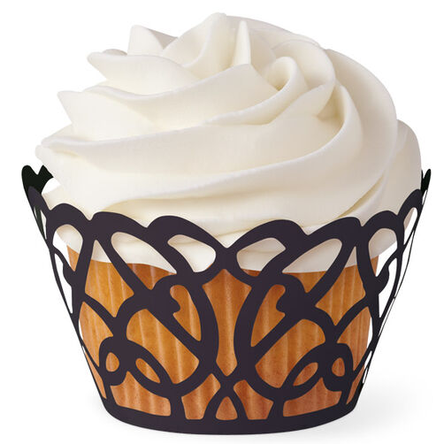 Black Swirls Cupcake Wrap