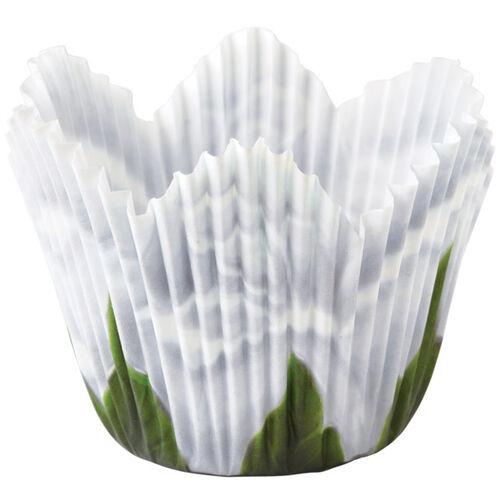 White Rose Petal Baking Cups