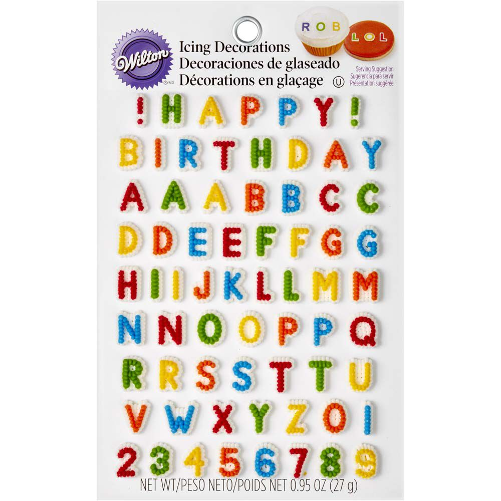 Letters & Numbers Edible Icing Decorations | Wilton
