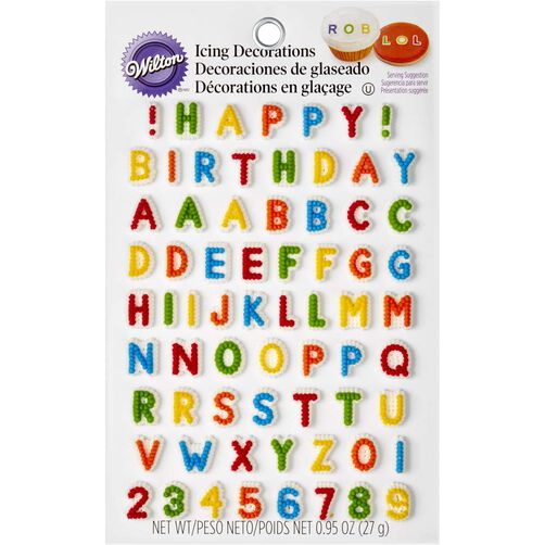 Letters & Numbers Edible Icing Decorations Wilton