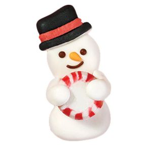 Snowman w/ Stripe Mint Royal Icing Decorations