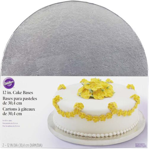 12 Inch Round Silver Cake Base