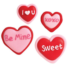 Message Hearts Royal Icing Decorations
