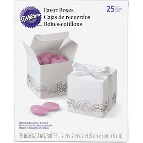 White Silver Foil Favor Boxes