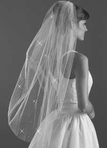 Blunt Edge Rhinestone Bridal Veil