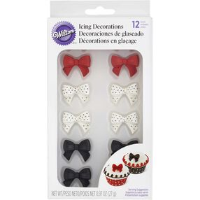 Black, Red & White Bow Candy Decorations