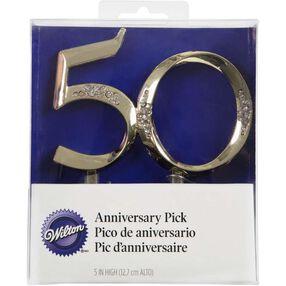 Gold 50th Anniversary Cake Topper