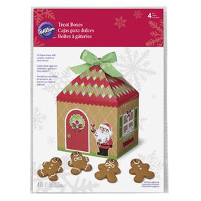 Wilton Christmas Sweet Holiday Sharing Gingerbread House Treat Boxes, 4-Ct.