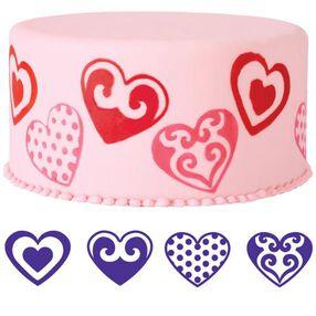 4-Pc. Hearts Cake Stamp Set