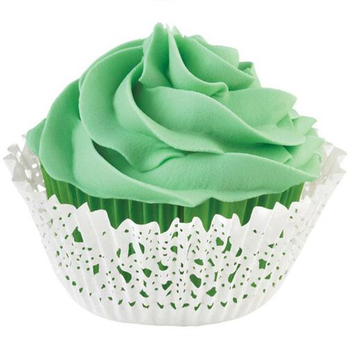 Green Doily Cupcake Liners & Wraps Set