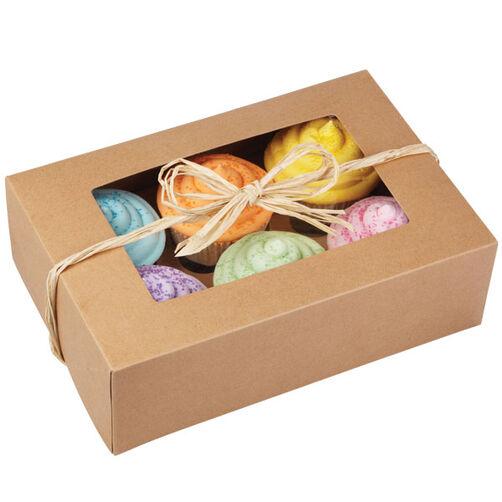 6 Cavity Kraft Cupcake Box