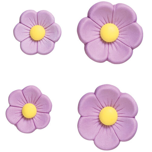 Pre-made Royal Icing Purple Posies