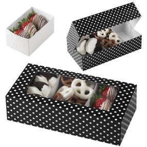 Wilton Black with White Dots Rectangular Treat Box with 3 Removable Trays, 3 Count Pack 415-1971