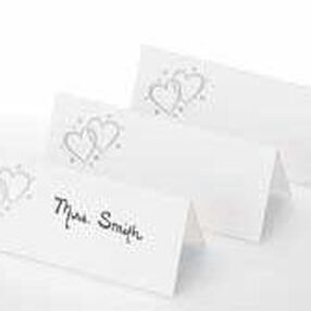 Silver Double Heart Place Cards