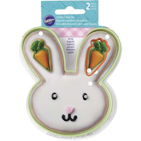 Easter Bunny Face and Carrot Cookie Cutter Set