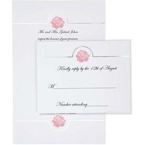 White Flower Embossed Invitation Kit