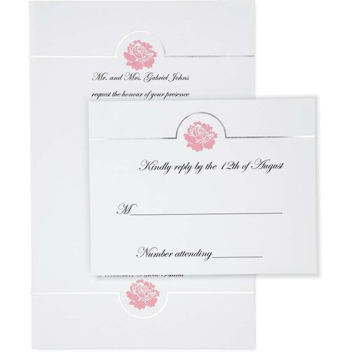 White Flower Embossed Invitation Kit