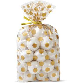 Gold Polka Dot Print Treat Bags