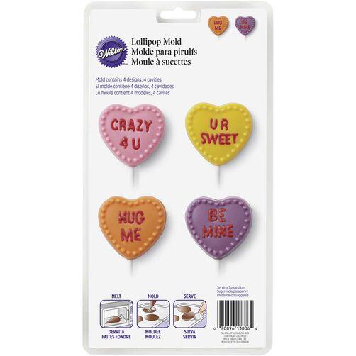 Conversation Hearts Lollipop Candy Mold