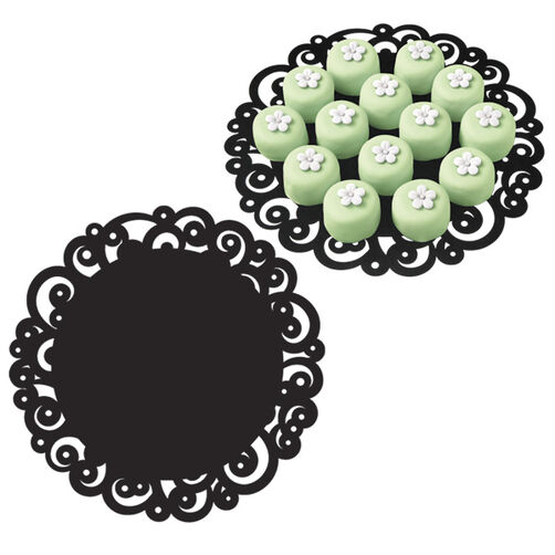 12 in. Black Swirl Doilies