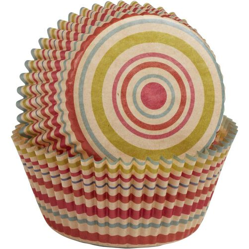 Unbleached Multicolored Stripe Baking Cups