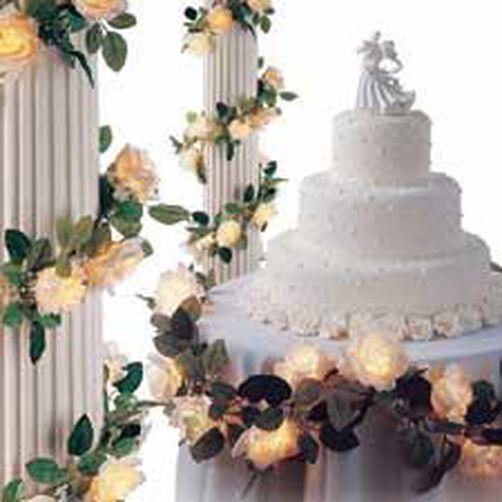 White Rose Lighted Bridal Garland