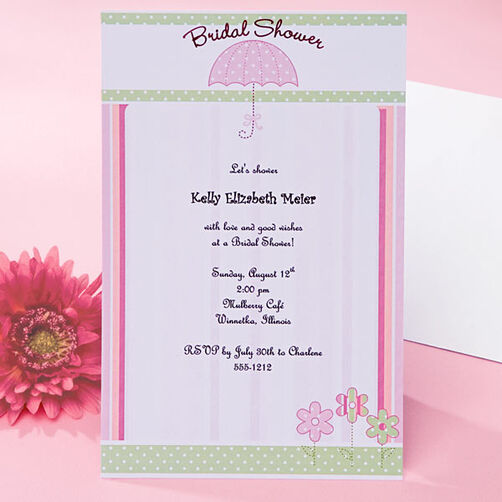 Pink Umbrella Bridal Shower Invitations