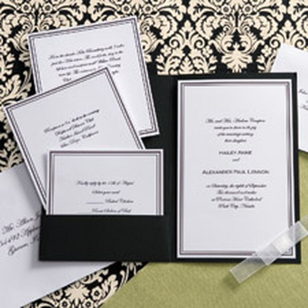 Pocket wedding invitation kits gangcraft black and white elegance pocket invitation kit wilton wedding invitations monicamarmolfo Gallery
