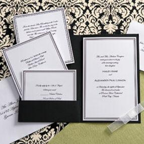 Black and White Elegance Pocket Invitation Kit