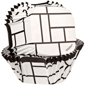 Black & White Block Square Cupcake Liners