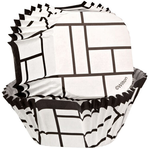 Black and White Block Square Baking Cups