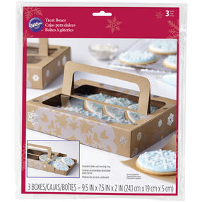 Kraft Snowflake Pattern Treat Boxes, 3-Pack