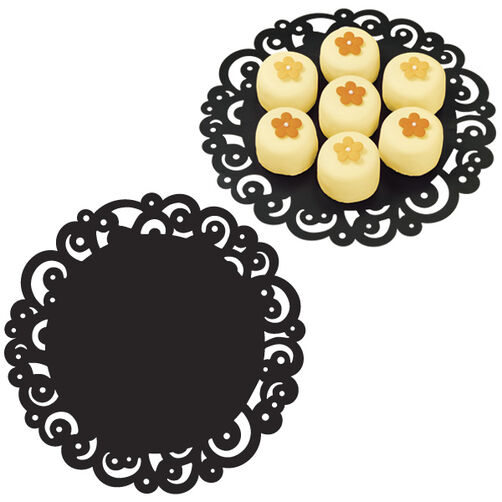 10 in. Black Swirl Doilies