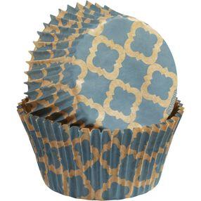 Unbleached Turquoise Quatrefoil Design Baking Cups