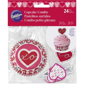 Valentine Cupcake Liners & Toppers Set