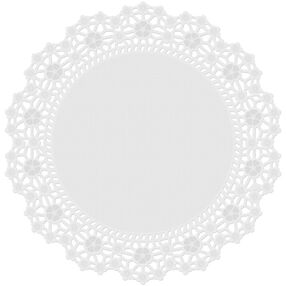 12 in. Round Grease-Proof White Doilies